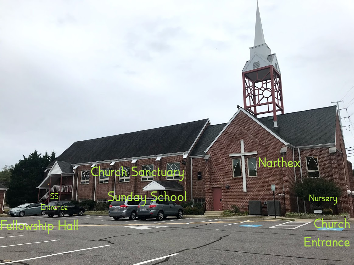 Map of various locations on church property